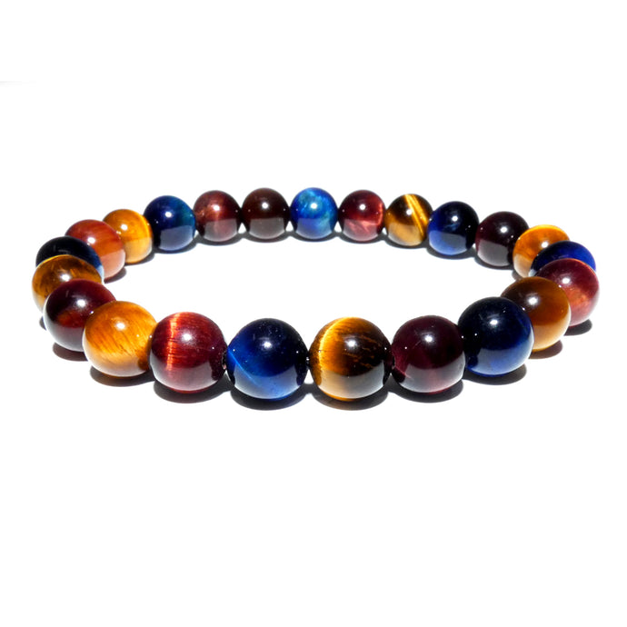 Limited Edition Triple Power Red Tigers Eye Blue Tigers Eye and Yellow Tigers Eye 8mm Stretch Bracelet