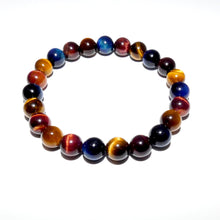 Load image into Gallery viewer, Limited Edition Triple Power Red Tigers Eye Blue Tigers Eye and Yellow Tigers Eye 8mm Stretch Bracelet