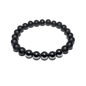 Duo Power Matte Black Onyx Hematite 8mm Stretch Bracelet