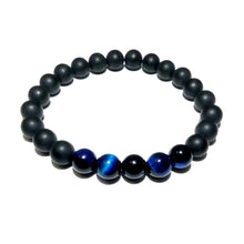 Load image into Gallery viewer, Duo Power Matte Black Onyx Blue Tigers Eye 8mm Stretch Bracelet