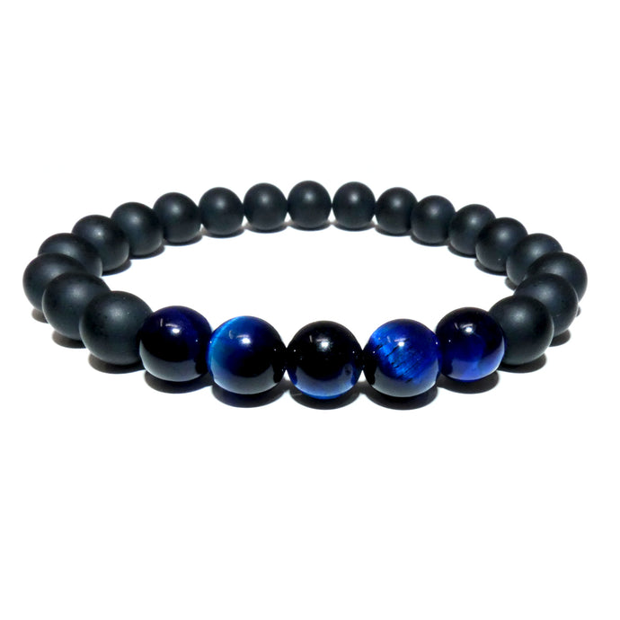 Duo Power Matte Black Onyx Blue Tigers Eye 8mm Stretch Bracelet