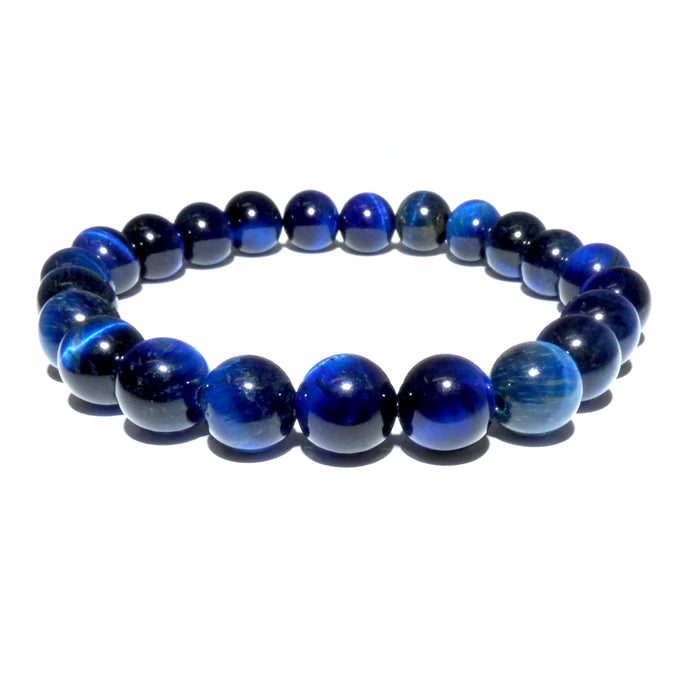 Vibrant Blue Tigers Eye Wisdom and Truth 8mm Stretch Bracelet