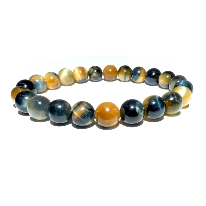 Limited Honey Blue Tigers Eye Velvet Transitioning 8mm Stretch Bracelet