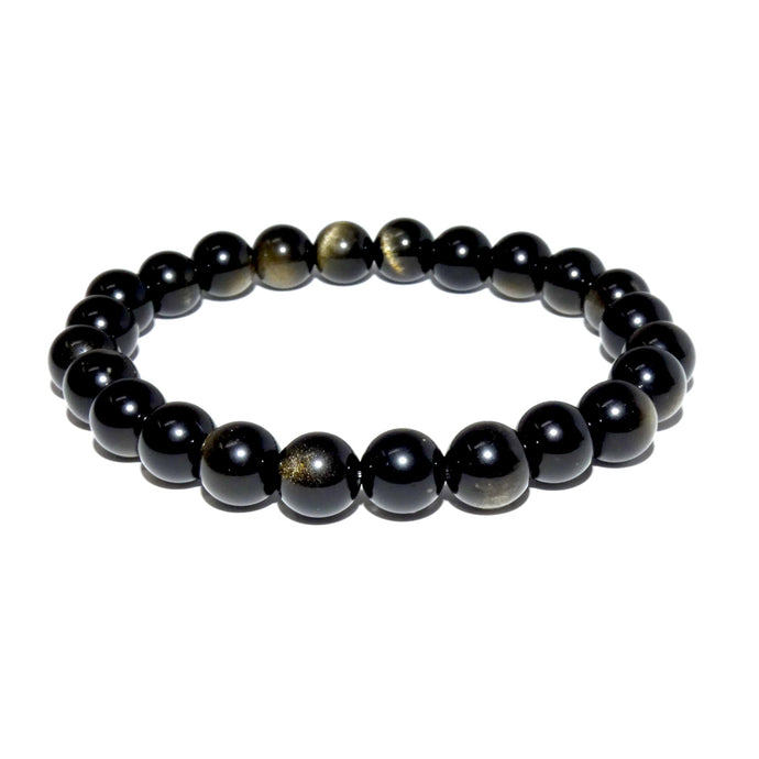 Limited Gold Sheen Rainbow Obsidian Energetic Shield 8mm Stretch Bracelet