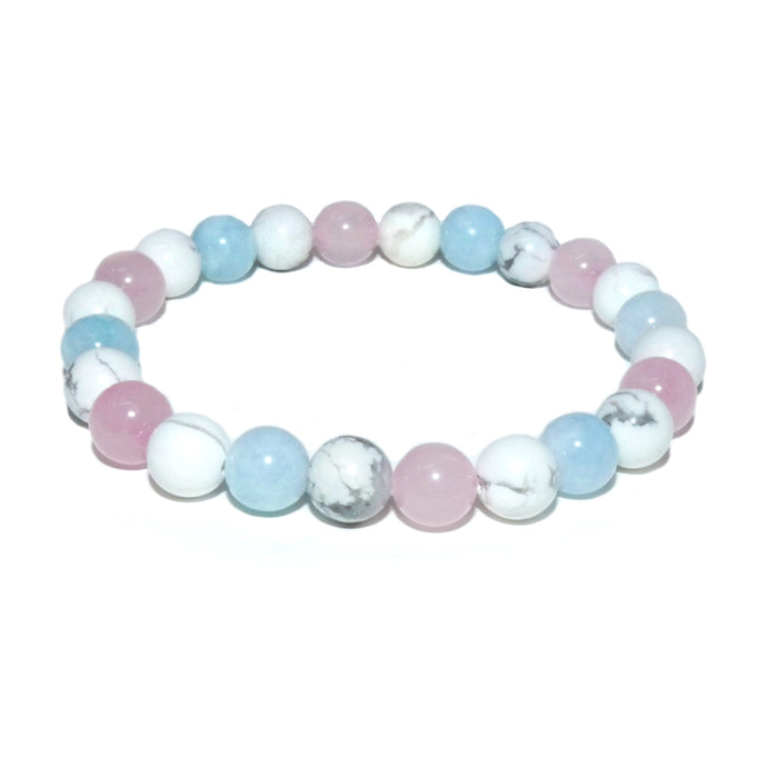 Triple Power Aquamarine Howlite Rose Quartz Sweetest Love 8mm Stretch Bracelet