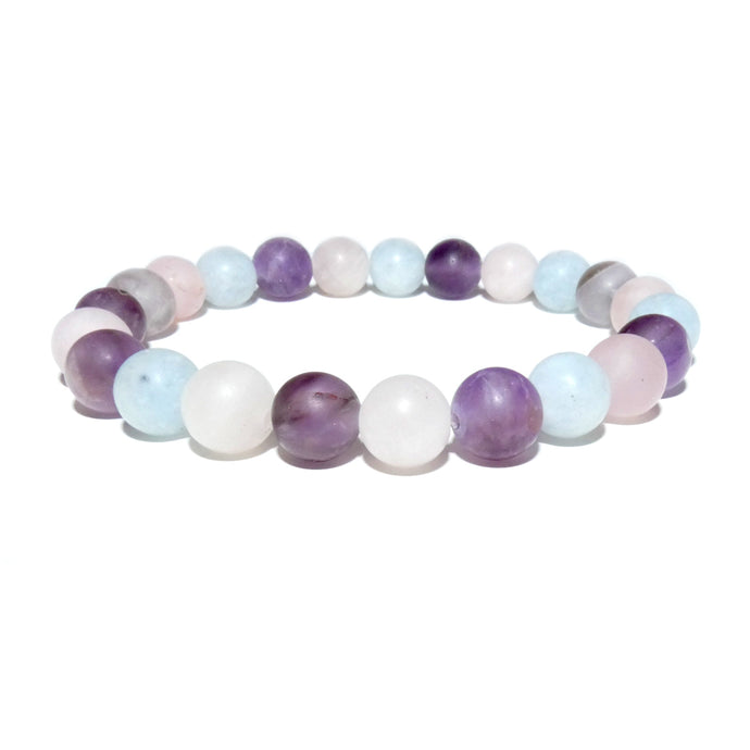 Triple Power Amethyst Rose Quartz Aquamarine Spiritual Awareness Matte 8mm Stretch Bracelet