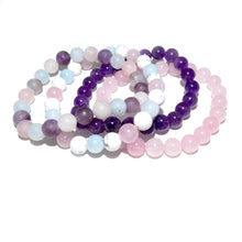 Load image into Gallery viewer, Triple Power Aquamarine Howlite Rose Quartz Sweetest Love 8mm Stretch Bracelet