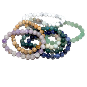 Amethyst Lavender Sage Matte Queen Intuition 8mm Stretch Bracelet