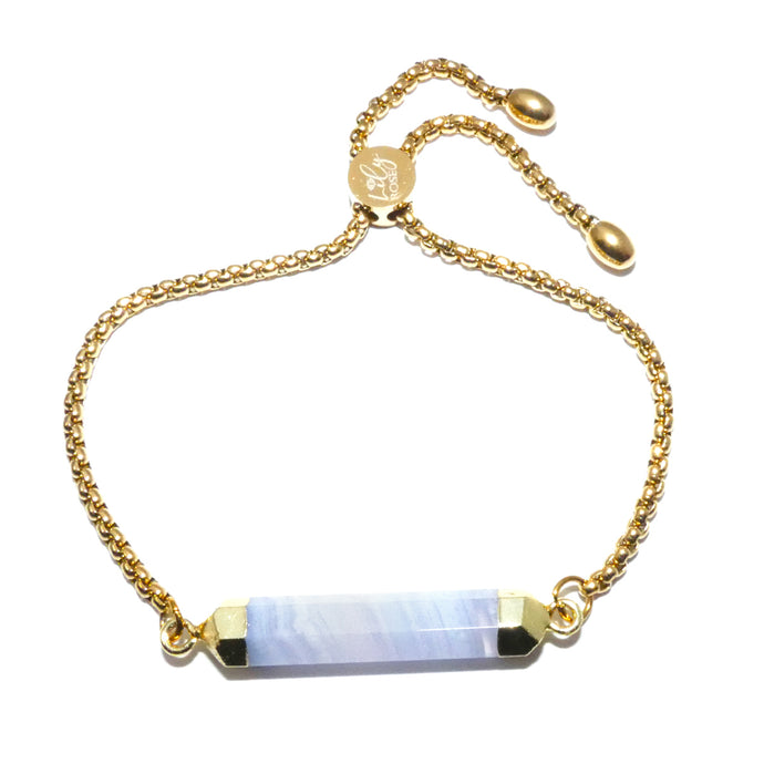 Minimalist Limited Blue Lace Agate Wand Bar Horizontal Gold Adjustable Bracelet