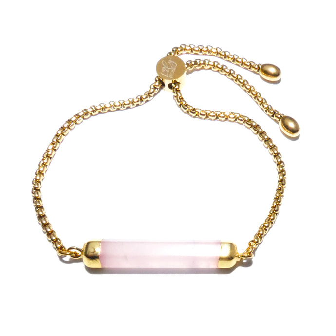 Minimalist Rose Quartz Bar Wand Horizontal Gold Adjustable Bracelet