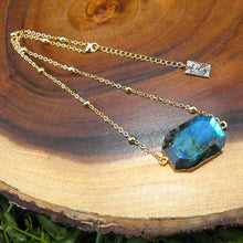 "Load image into Gallery viewer, Rustic & Raw Geometric Square Labradorite Pendant 14"" + 2"" Gold Necklace"