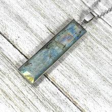 "Load image into Gallery viewer, Modern Labradorite Glowing Bliss Vertical Bar Pendant 18"" White Gold Necklace"