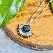 "Load image into Gallery viewer, Labradorite Ray of Light Sunburst Inner Magic Sun Pendant 18"" White Gold Necklace"