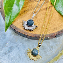 "Load image into Gallery viewer, Labradorite Ray of Light Sunburst Inner Magic Sun Pendant 18"" Gold Necklace"