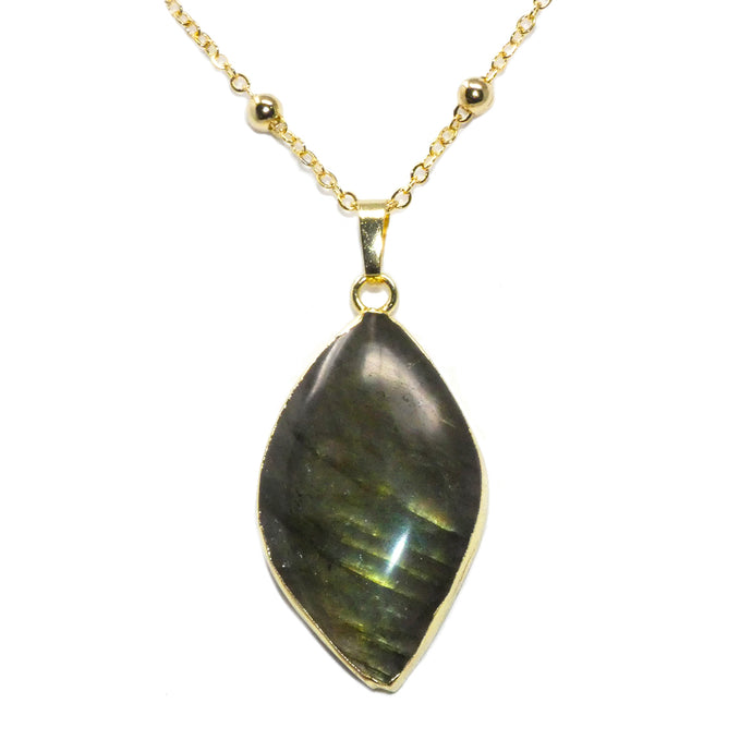 "Dancing Wave Free-form Labradorite Pendant 30"" 24k Gold Dip Edges Necklace"