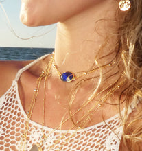 "Load image into Gallery viewer, Faceted Gemstone Oval Lapis Lazuli Pendant Choker 14"" + 2"" Gold Necklace"