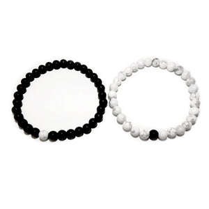 Howlite & Black Onyx Couples Bracelet 6mm Stretch Matching Set