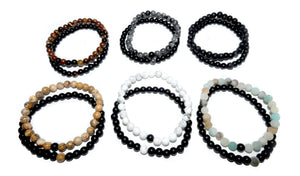 Amazonite & Black Onyx Couples Bracelet 6mm Stretch Matching Set