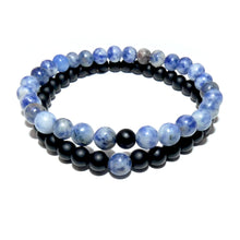 Load image into Gallery viewer, Sodalite & Black Onyx Couples Bracelet 6mm Stretch Matching Set