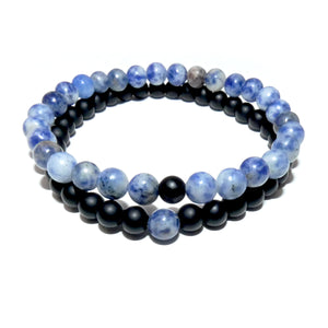 Sodalite & Black Onyx Couples Bracelet 6mm Stretch Matching Set