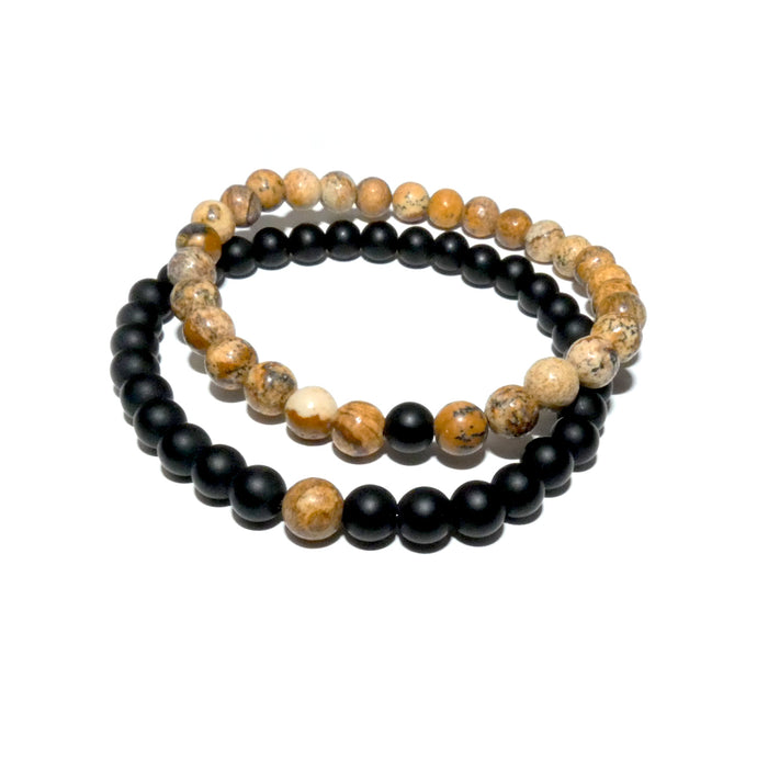 Picture Jasper & Black Onyx Couples Bracelet 6mm Stretch Matching Set