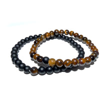 Load image into Gallery viewer, Tigers Eye & Black Onyx Couples Bracelet 6mm Stretch Matching Set