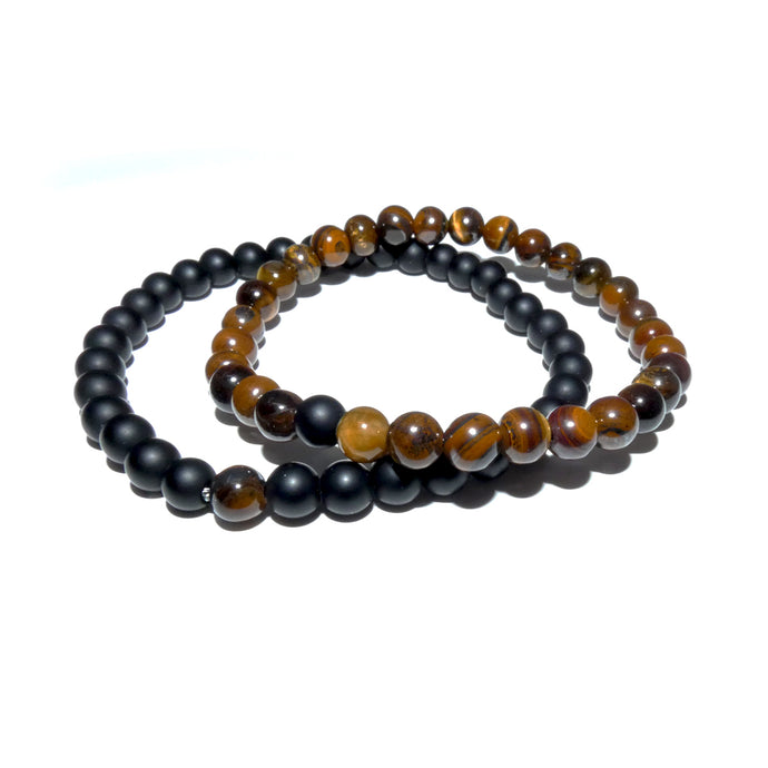 Tigers Eye & Black Onyx Couples Bracelet 6mm Stretch Matching Set