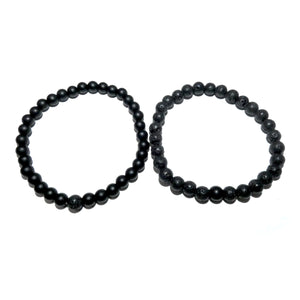 Lava & Black Onyx Couples Bracelet 6mm Stretch Matching Set