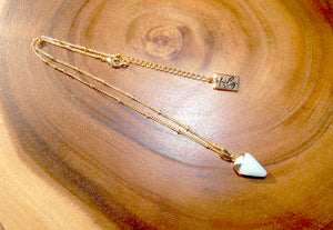 "Faceted Shield Amazonite Minimalist Crystal Pendant 14"" + 2"" Gold Necklace"