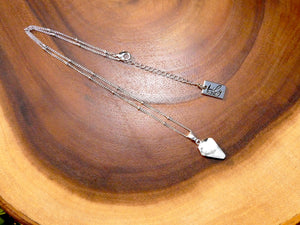 "Faceted Shield Howlite Minimalist Crystal Pendant 14"" + 2"" White Gold Necklace"