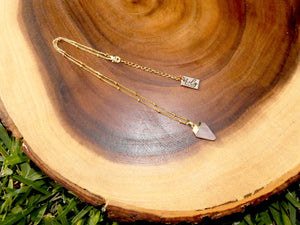 "Faceted Shield Rose Quartz Minimalist Crystal Pendant 14"" + 2"" Gold Necklace"