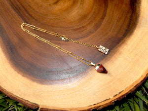 "Faceted Shield Red Tigers Eye Minimalist Crystal Pendant 14"" + 2"" Gold Necklace"