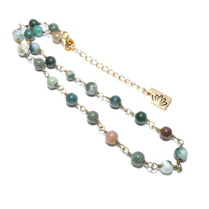 "Minimalist Indian Agate 6mm Beaded Rosary Chain Wire Wrapped Choker 12"" + 2"" Gold Necklace"