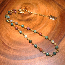 "Load image into Gallery viewer, Minimalist Indian Agate 4mm Beaded Rosary Chain Wire Wrapped Choker 12"" + 2"" Gold Necklace"