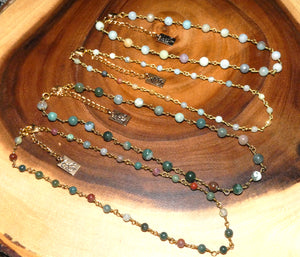 "Minimalist Indian Agate 4mm Beaded Rosary Chain Wire Wrapped Choker 12"" + 2"" Gold Necklace"