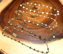 "Load image into Gallery viewer, Minimalist Indian Agate 6mm Beaded Rosary Chain Wire Wrapped Choker 12"" + 2"" Gold Necklace"