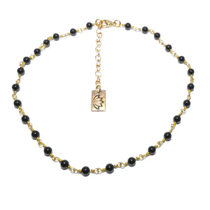 "Minimalist Black Onyx 4mm Beaded Rosary Chain Wire Wrapped Choker 12"" + 2"" Gold Necklace"