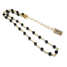 "Load image into Gallery viewer, Minimalist Black Onyx 4mm Beaded Rosary Chain Wire Wrapped Choker 12"" + 2"" Gold Necklace"