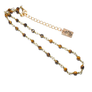 "Minimalist Tigers Eye 4mm Beaded Rosary Chain Wire Wrapped Choker 12"" + 2"" Gold Necklace"