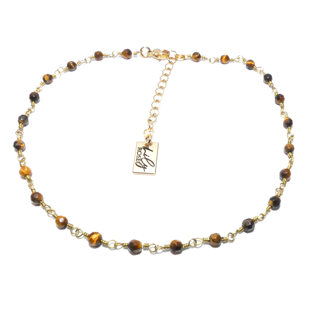 Minimalist Tigers Eye 4mm Beaded Rosary Chain Wire Wrapped Choker 12