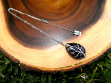 "Load image into Gallery viewer, Tree of Life Teardrop Amethyst Wire Wrapped Pendant 18"" White Gold Necklace"