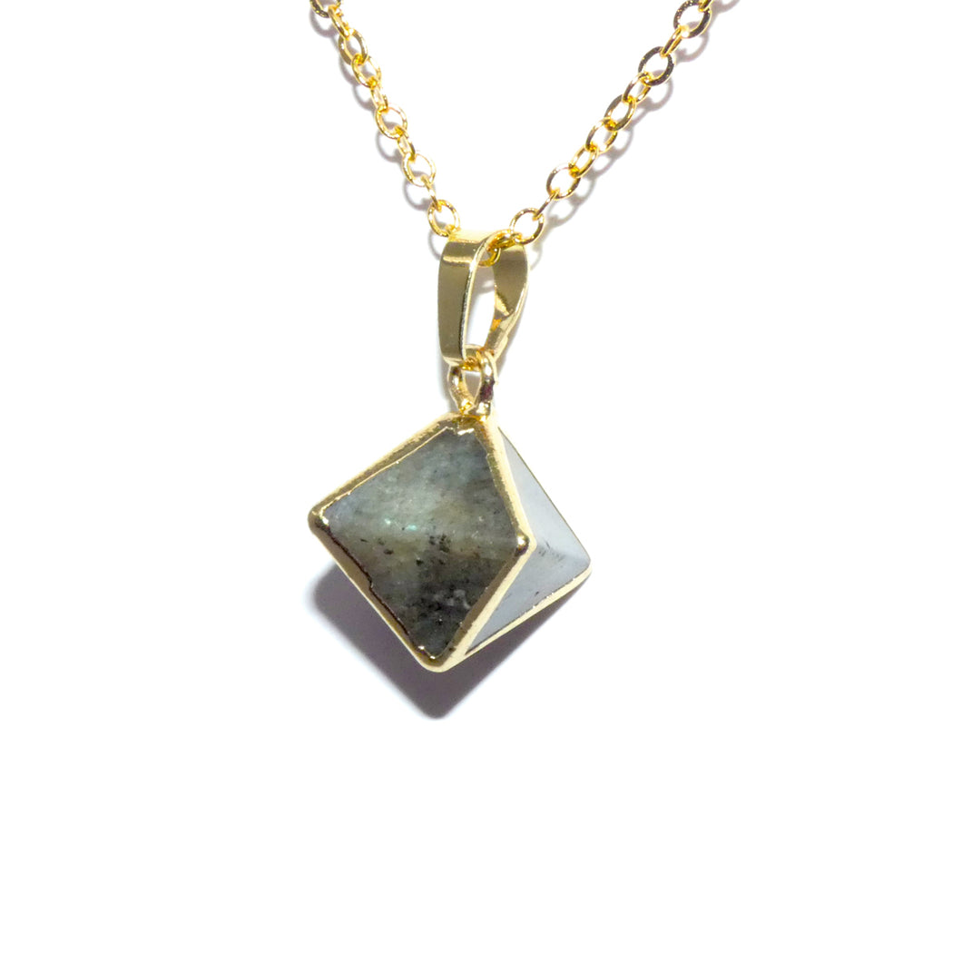 "Natural Luxury Labradorite Double Pointed Pyramid Pendant 18"" Gold Necklace"