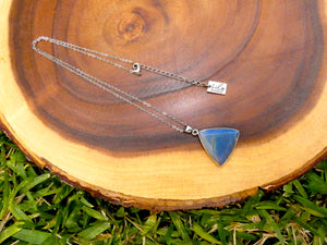 "Geometric Triangle Medium Soft Labradorite Pendant 18"" White Gold Necklace"