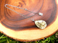 "Load image into Gallery viewer, Simple & Polished Ocean Jasper Teardrop Crystal Pendant 18"" White Gold Necklace"