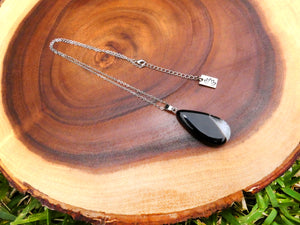 "Simple & Polished Black Lace Agate Teardrop Crystal Pendant 18"" White Gold Necklace"
