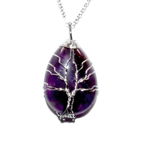 "Tree of Life Teardrop Amethyst Wire Wrapped Pendant 18"" White Gold Necklace"