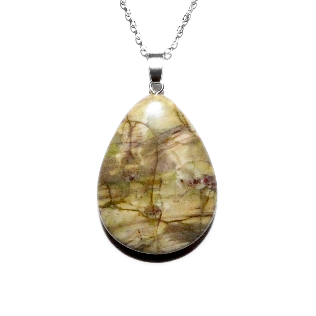 "Simple & Polished Ocean Jasper Teardrop Crystal Pendant 18"" White Gold Necklace"