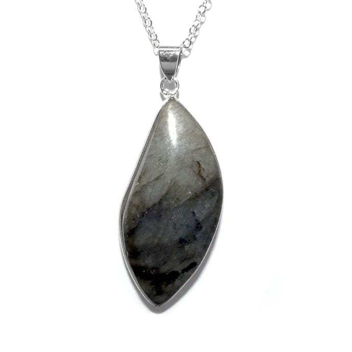 "Dancing Wave Free-form Labradorite Pendant 18"" White Gold Bezel Set Necklace"