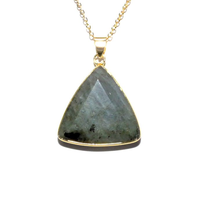 "Geometric Triangle Medium Soft Labradorite Pendant 18"" Gold Necklace"