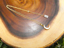 "Load image into Gallery viewer, Power Moon Mother of Pearl Shell Pendant 18"" Gold Necklace"